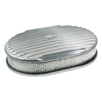 Air Cleaner 12 x 2 Oval Polished Aluminium Full Finned Air Cleaner Paper Element