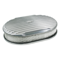 Air Cleaner 15 x 2 Oval Polished Aluminium Full Finned Paper Element
