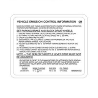 EMISSION CONTROL DECAL LABEL VL RB30