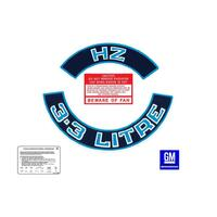 '3.3 LITRE' ENGINE DECAL KIT (BLUE) HZ